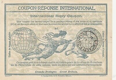 International Reply Coupon Great Britain  3d Newcastle on Tyne