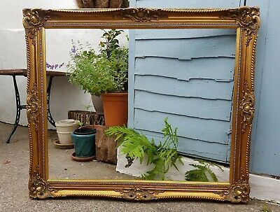 """Very Large Ornate Old Vintage Gold Gilt Picture Frame-To Fit: 33"""" x 27 inch"""