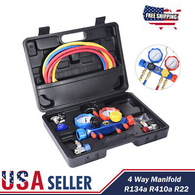 4 Way AC Diagnostic Manifold Gauge Set for Air Conditioner R22 R410A R134A 5FT.