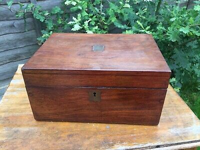 Antique Vintage Oak Writing Slope Box