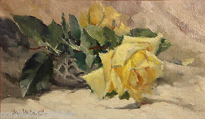 Yellow Roses Still Lilfe Painting by Famous California Artist, William Hubacek