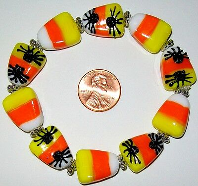 Halloween Stretch Bracelet-Candy Corn/Spiders-Reversible-Handcrafted-Glass-#791