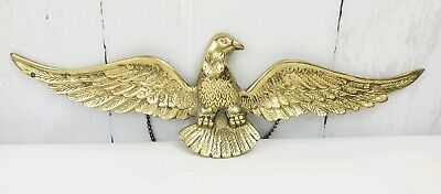 """Eagle Cast Brass Wall Mount Hanging Wingspan 17.5"""" Long"""