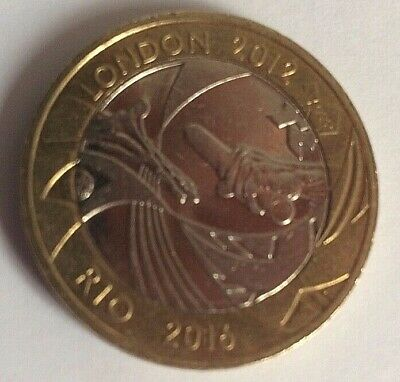 2012 London Olympic Handover Rio 2016 £2 (Two) Pound Coin. Circulated.