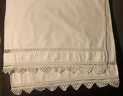 """Vintage WHITE COTTON 76""""L BOLSTER TUBE PILLOW CASE,TRIMMED W/CROCHETED LACE EXC."""