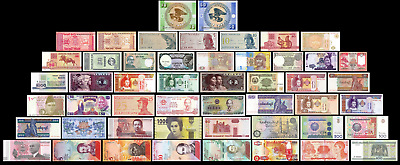 50 Pcs of Different Unique World Foreign Mixed Banknotes Currency Unc Lot + List