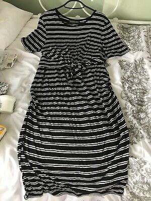 Mothercare Blooming Marvellous Maternity Dress Black and White stripped size 14