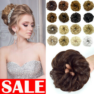 LARGE Curly Messy Bun Hair Piece Scrunchie Thick Hair Updo Extension UK BROWN
