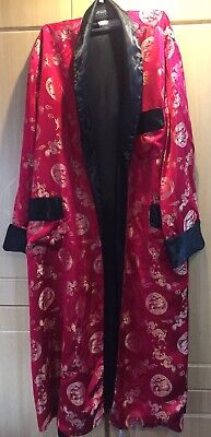 Authentic Vintage Red And Black Silk Kimono Size L