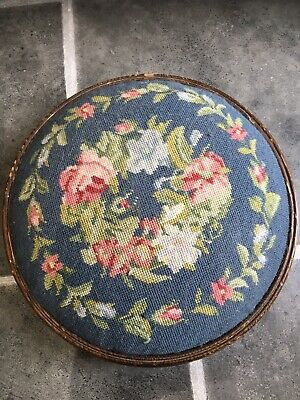 Vintage/Antique Round Tapestry Footstool On Three Bun Feet