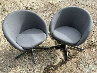 Tremendous Pair Of Ikea Skruvsta Grey Swivel Desk Office Tub Chairs No Creativecarmelina Interior Chair Design Creativecarmelinacom
