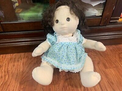 Vintage Mattel My Child Doll Brown Curly Hair & Eyes w/ Blue Floral Lace Dress