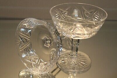 Two (2) WATERFORD Clare Cut Crystal Champagne Sherbet Dessert Glasses Signed