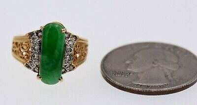 GIA Certified Jadeite and Diamond Ring 18k Yellow Gold Size 4.75 (can be sized)