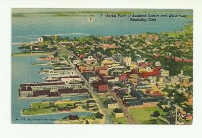 Aerial View Of Business District And Waterfront, Sandusky, Ohio Vintage Postcard