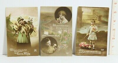 Antique Vintage Post Cards, Lot of 3 World War II era French post cards unposted