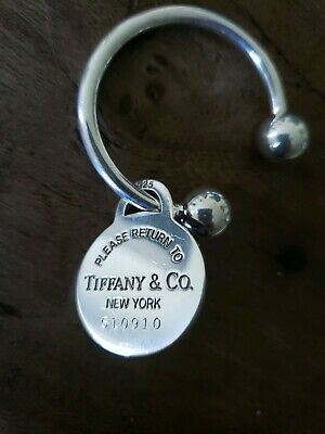Return to Tiffany & Co Round Key Chain/Key Ring 925 Sterling 2001 Authentic