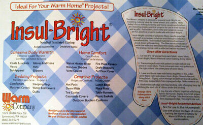 Insul-Bright Heat Resistant Batting , Sold By 1/2 Metre  The Warm Company  55...