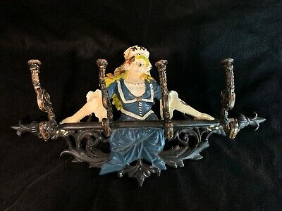 Wonderful Early Antique Cast Iron Hanging 4 Hook Coat Rack - Woman In A Dress
