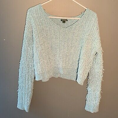Wild Fable Women's Size Large Cropped Sweater V-Neck Thick Textured Knit Teal