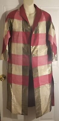 Asian Japanese Jacket Red Raw Silk Reversable Hand Made Geisha Coat ColorBlocked