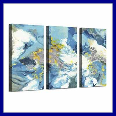 Seascape Picture Abstract Ocean Art BLUE Storm SILVER Foil Artwo Dirty Color 3