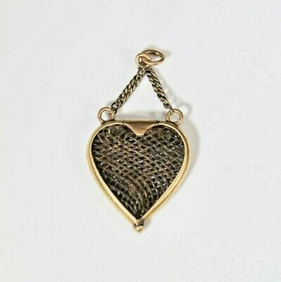 Antique Victorian Hairwork Heart Shaped Mourning Sentimental Charm Pendant Fob