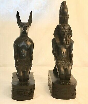 "Large Ancient Egyptian 13"" tall Pharaoh Ramses and God Anubis statues. Vintage."