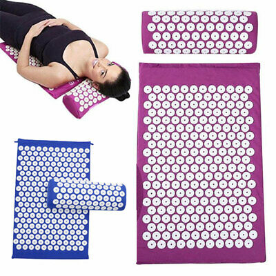 Acupressure Mat Massage Pillow Pain Relief Therapy Muscle Back Neck Travel Bag