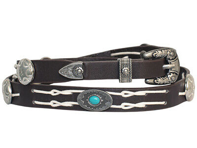 Western Chocolate Natural Laced Band w/Round Studs Turquoise Bead for Cowboy Hat