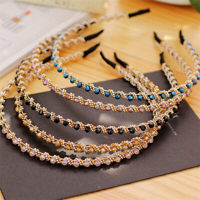 Women Headband Crystal Rhinestone Beaded Fashion Wedding Party Head Hair Band