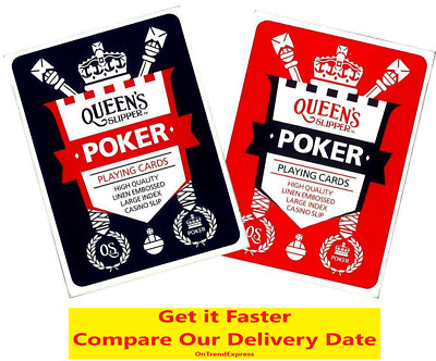 2 x Queen's Slipper POKER Playing Cards Deck High Quality Casino Slip RED + BLUE
