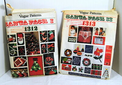 Vogue Patterns Santa Pack 1 & 2 #1312 #1313 Christmas Accessories Mofits Vintage