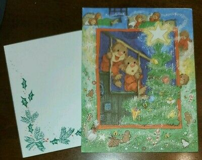 Suzy's Zoo Christmas Card w/envelope Ollie and little brother on stairs
