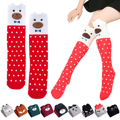 Lovely Cartoon Animal Baby Kids Girls Long Knee-High Cotton Socks Tights Warm