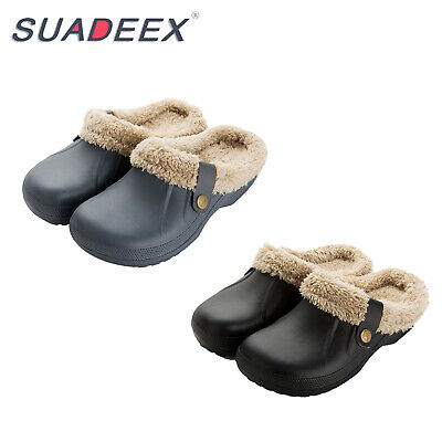 Mens Winter Clogs Mules Slippers Indoor Outdoor Plush Lined Slip on House Shoes