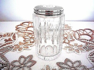 Victorian Antique 1867  Sterling Silver & Glass Vanity Jar ~ English Hallmarks