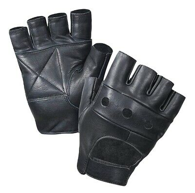 2 Pairs Workout Black Leather Finger less Gloves Exercise Fitness Lifting Gloves