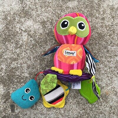"LAMAZE ""Hot Pink"" Pretty Owl Shaped Cute Babies Noise Making Rattle Toy"