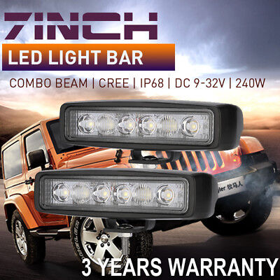 2x 7inch 240W CREE LED Work Driving Light Bar Cree Spot Flood Lamp Offroad 4x4