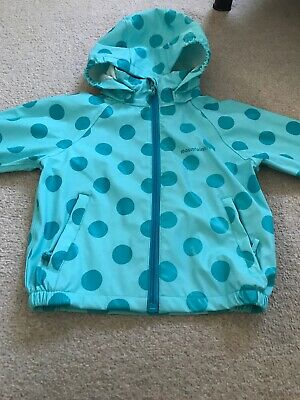 Mountain Life Girls  Turquoise Spotted Hooded Waterproof  Jacket Size 3-4