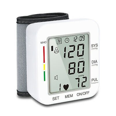 Arm Wrist Blood Pressure Pulse Monitor Electronic LCD Digital Screen Voice USA