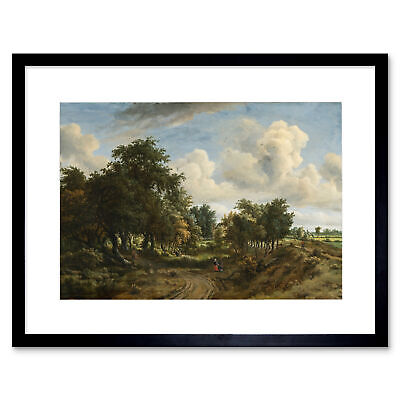 Painting Arboreal Hobbema Wooded Landscape Framed Print 12x16 Inch