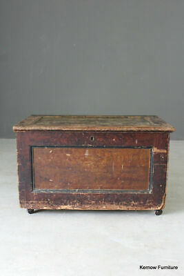 Rustic Antique Stained Pine Storage Chest Trunk Box Toys Blankets Coffee Table