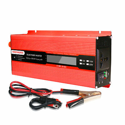 6000W Car Vehicle Power Converter DC 12V to AC 220V Solar Inverter LCD