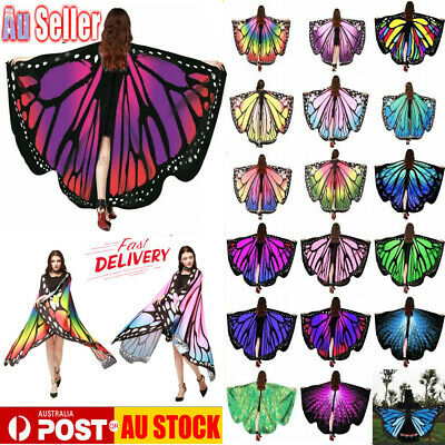 AU Butterfly Wings Fairy Costume Adult Outdoor Nymph Shawl Scarf Fancy Dress HOT