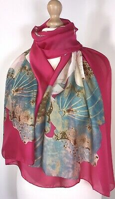 NEW Silk Floral Scarf Pashmina Grey Pinks Oversized Floaty Silky Softest Feel