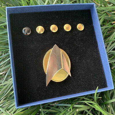 Picard Combadge Rank Pips Set Command Science Medical Engineering Pin Brooch