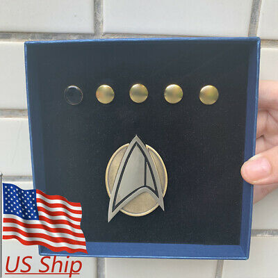 Picard Combadge Rank Pips Brooch Set Command Science Engineering Medical Pin