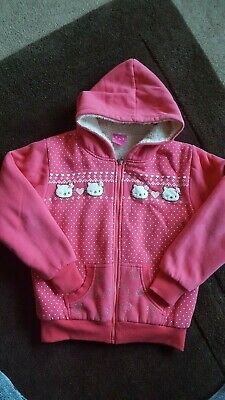 Girls Hello Kitty Fur Lined Hooded Jumper, Age 8 Years, Good Used Condition